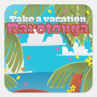 Rarotonga vintage travel poster square sticker