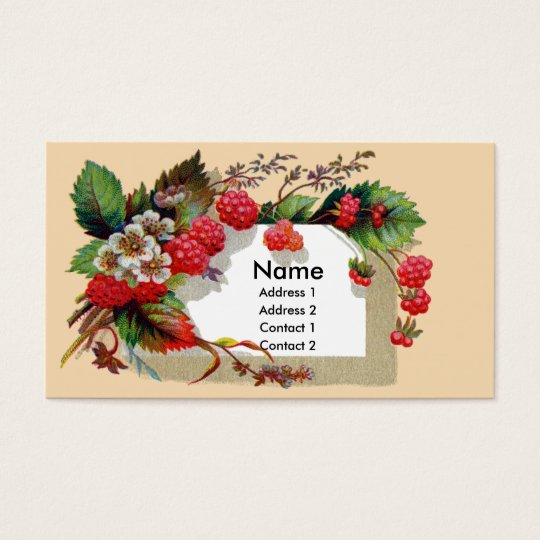 Raspberries and Blossoms Victorian Business Card