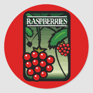 Raspberries Classic Round Sticker