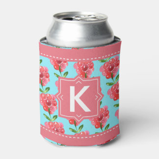 Raspberries Fruity Pink Teal Monogram Personalized Can Cooler