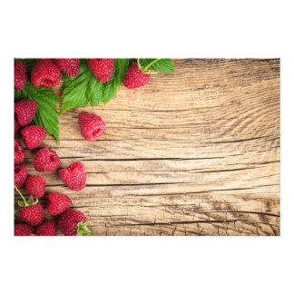 Raspberries On Wooden Table Background Art Photo