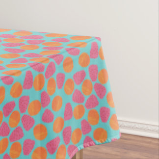 Raspberries Tangerines on Bright Turquoise Blue Tablecloth