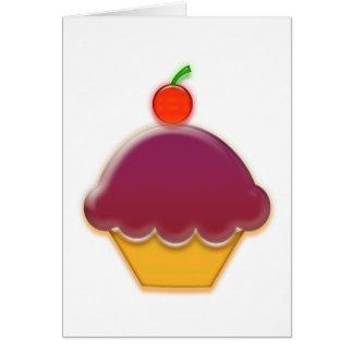 Raspberry and Cherry Cupcake Art Greeting Card