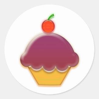 Raspberry and Cherry Cupcake Art Classic Round Sticker