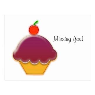 Raspberry and Cherry Cupcake Art Postcard