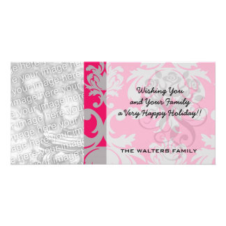 Raspberry and grey damask photo card template