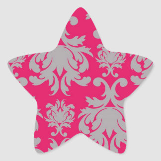 Raspberry and grey damask star sticker