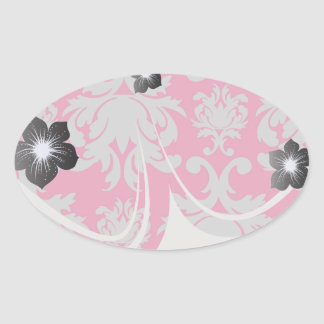 Raspberry and grey damask oval stickers