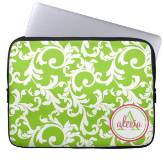 Raspberry and Lime Monogrammed Damask Print Laptop Sleeve
