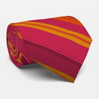 Raspberry and Orange Fractal Striped Tie