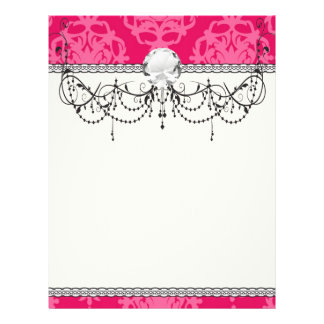 Raspberry and pink damask flyer