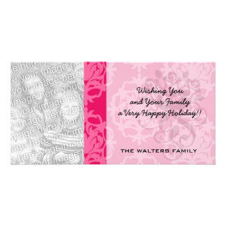 Raspberry and pink damask personalized photo card
