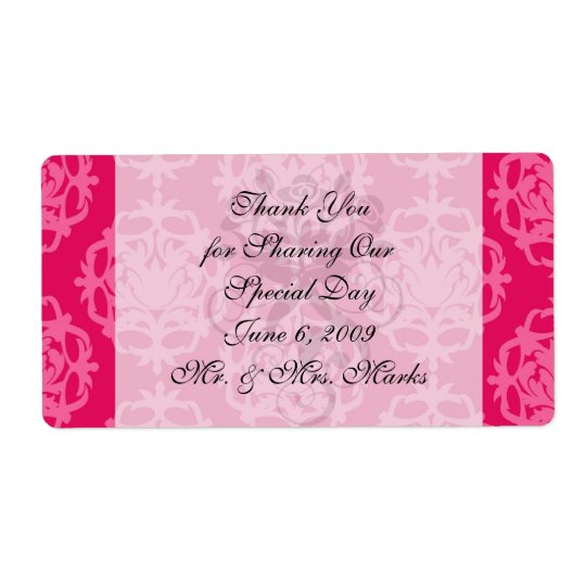 Raspberry and pink damask shipping label