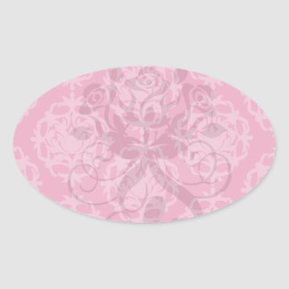 Raspberry and pink damask sticker