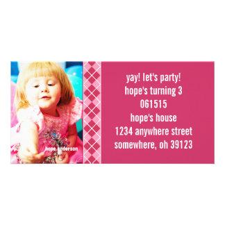 Raspberry Argyle Birthdy Photo Invitation Customised Photo Card