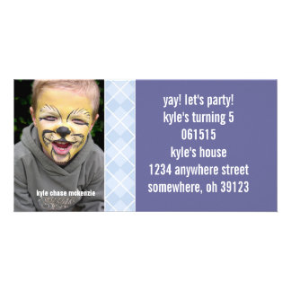 Raspberry Argyle Birthdy Photo Invitation Personalized Photo Card