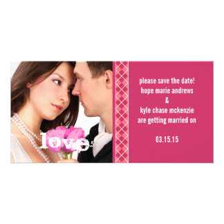 Raspberry Argyle Save The Date Engagement Photo Card