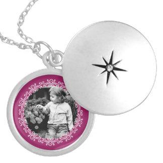 Raspberry Fancy Frame Custom Photo Round Locket Necklace