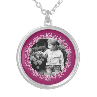 Raspberry Fancy Frame Custom Photo Silver Plated Necklace