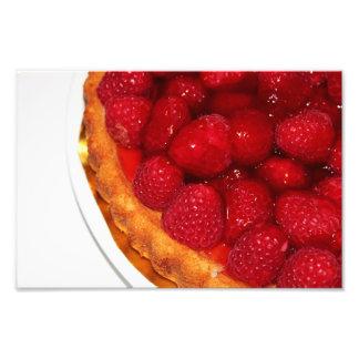 Raspberry flan dessert photo print