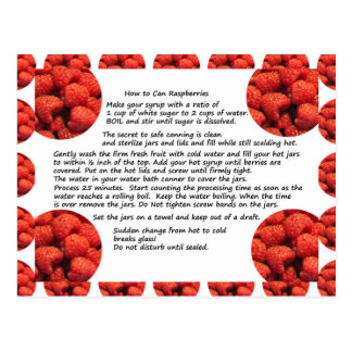 Raspberry Fruit Recipe Postcard