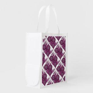 Raspberry Gerbera Daisy Flower Bouquet Reusable Grocery Bag