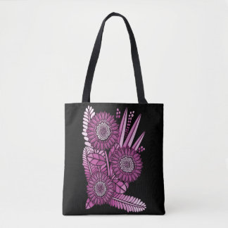 Raspberry Gerbera Daisy Flower Bouquet Tote Bag