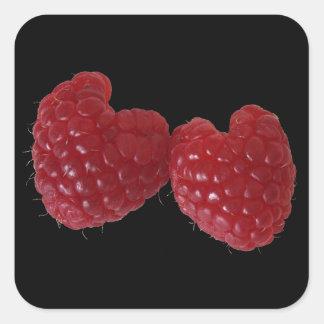 Raspberry Hearts Square Sticker