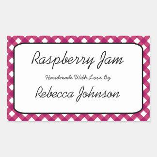 Raspberry Jam Custom Text Jar Label Rectangular Sticker