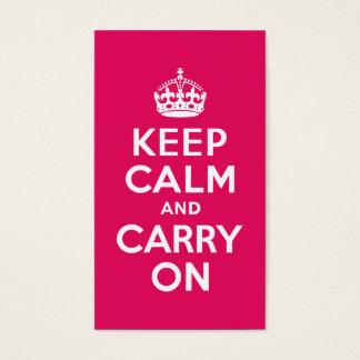 Raspberry Keep Calm and Carry On Business Card