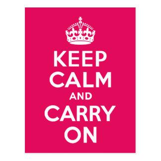 Raspberry Keep Calm and Carry On Postcard