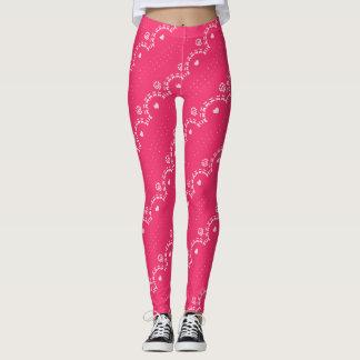 Raspberry Lace Pattern Leggings