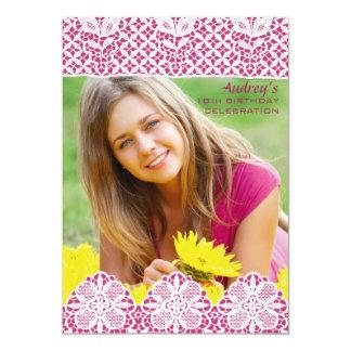 Raspberry Lace Photo Invitation