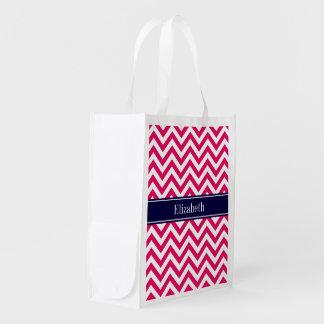 Raspberry Lg Chevron Navy Blue Name Monogram Reusable Grocery Bag