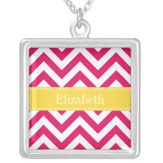 Raspberry Lg Chevron Pineapple Name Monogram Personalized Necklace
