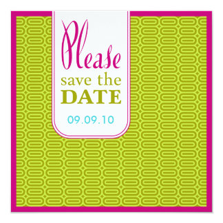 Raspberry Lime Geo Abstract Save the Date Invite