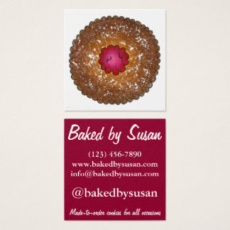 Raspberry Linzer Torte Cookie Baked By Bakery Food Square Business Card