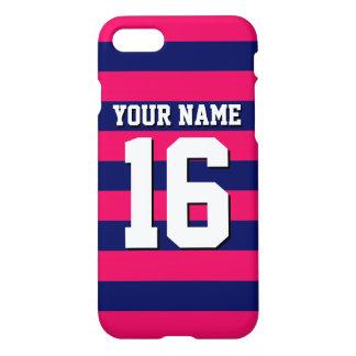 Raspberry Navy Blue Sports Jersey Preppy Stripe iPhone 8/7 Case