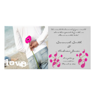Raspberry Paisley & Gerbers on Grey Save The Date Photo Card