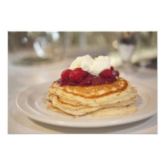 Raspberry pancakes photo print