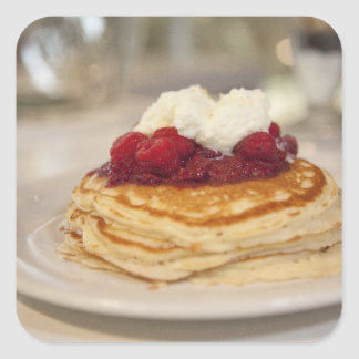 Raspberry pancakes square sticker