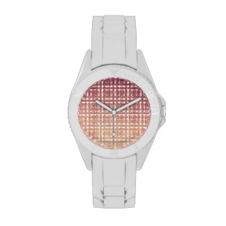 Raspberry Pink Blush Modern Plaid Netted Ombra 1 Wristwatch