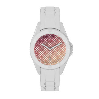 Raspberry Pink Blush Modern Plaid Netted Ombra 2 Wristwatches