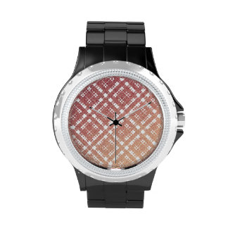 Raspberry Pink Blush Modern Plaid Netted Ombra Watch