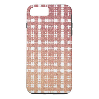 Raspberry Pink Blush Modern Plaid Netted Ombra iPhone 7 Plus Case