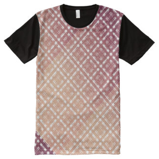 Raspberry Pink Blush Modern Plaid Netted Ombra All-Over Print T-Shirt