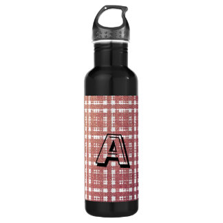 Raspberry Pink Blush Modern Plaid Netted Ombra 24oz Water Bottle