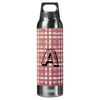 Raspberry Pink Blush Modern Plaid Netted Ombra 16 Oz Insulated SIGG Thermos Water Bottle