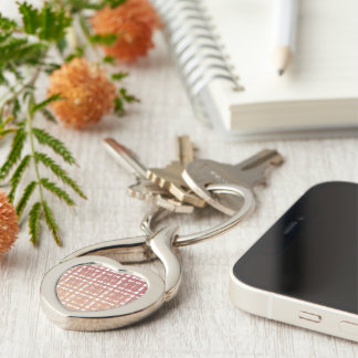 Raspberry Pink Blush Modern Plaid Netted Ombra Silver-Colored Twisted Heart Key Ring