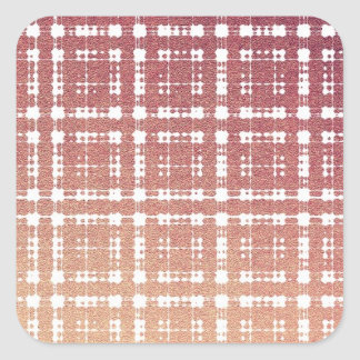 Raspberry Pink Blush Modern Plaid Netted Ombra Square Sticker